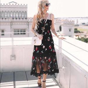 BB Dakota Black Floral Embroidery Sheer Mesh Dress